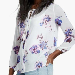 Lucky Brand Exploded Floral Peasant Top Sz XL